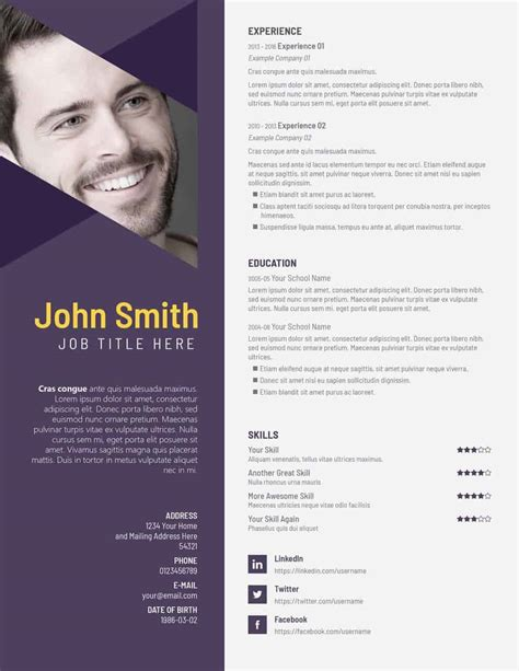 Psd Resume Template Free Psd Resume Templates On Vectogravic Design