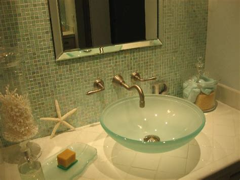 sea glass bathroom ideas frosted glass sink cottage bathroom hgtv