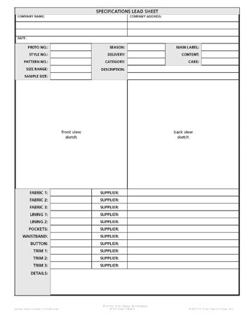 fashiondex specifications lead sheet forms and data