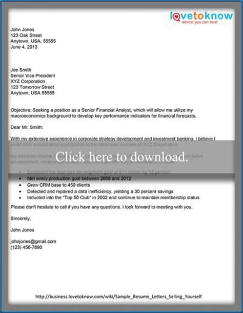 How To Sell Yourself In A Resume Exles by Sles Of Resume Cover Letters That Show How To Sell Yourself Lovetoknow