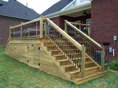 Deck Skirting Ideas by Deckorators Spindles Wood Deck With Horizontal Skirting