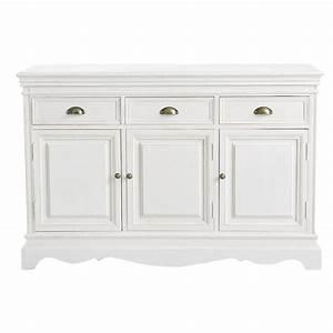 Maison Du Monde Bahut : paulownia wood sideboard in white w 131cm jos phine maisons du monde ~ Teatrodelosmanantiales.com Idées de Décoration