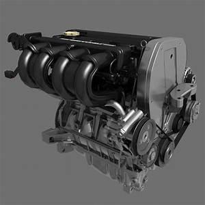 Car 4 Cylinder Engine 02 3d Model Max Fbx