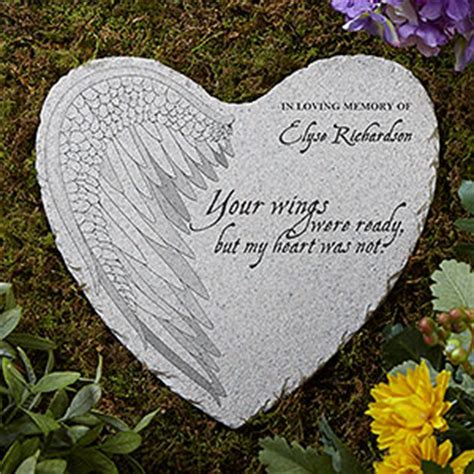 personalized memorial heart garden stone  wings