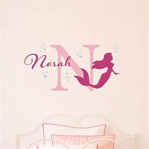 mermaid wall decal with bubbles initial name With mermaid wall decals