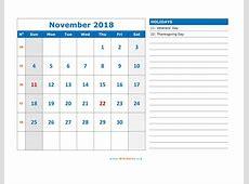 November 2018 Calendar WikiDatesorg