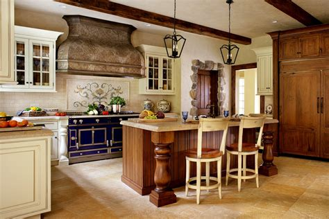 rustic barn doors wall country kitchens ideas in blue and white colors