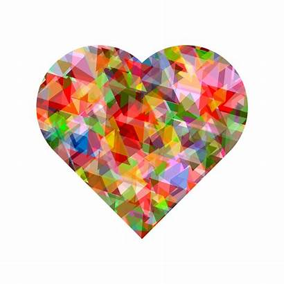 Heart Crystal Multi Transparent Colors Hearts Colorful