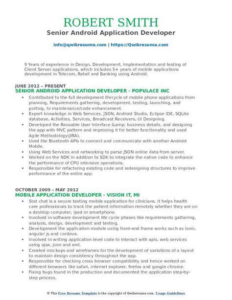 Sle Application Resume by Android Application Developer Resume Sles Qwikresume