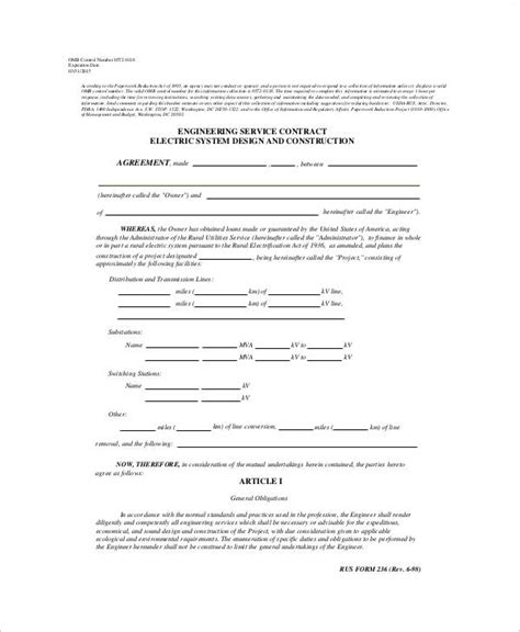 Engineering Services Contract Template by 6 Service Contract Form Sles Sle Templates