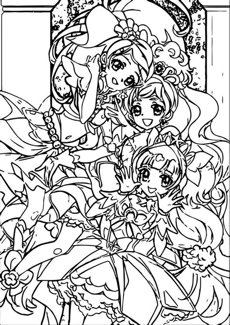 glitter force  beauty girls coloring page kids activity