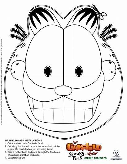 Garfield Printable Mask Coloring Halloween Masks Birthday