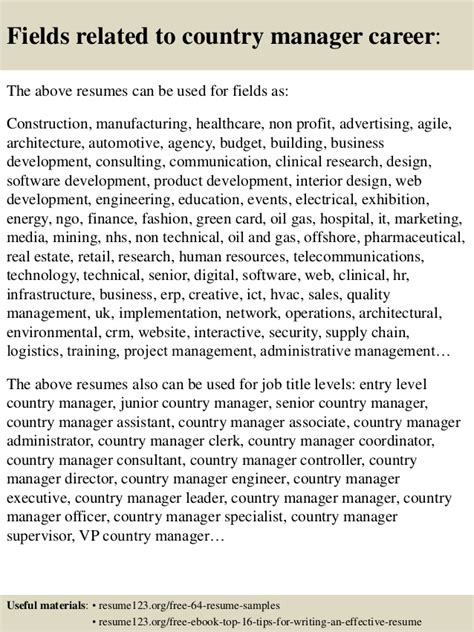 top  country manager resume samples