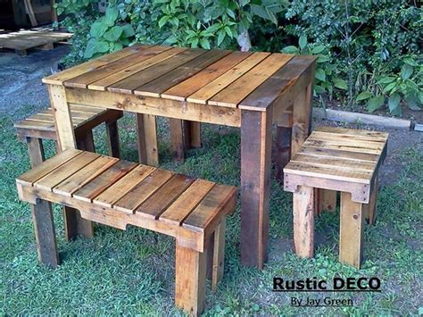 rustic pallets tables  benches pallet ideas