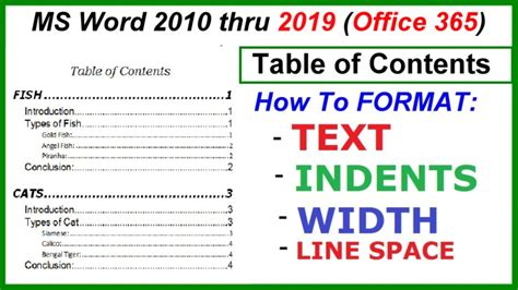 word    table  contents format text