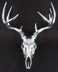 deer antler art Unique Large Chrome 9 point Deer Skull Antler Art Sculpture