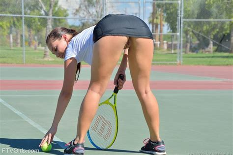 Brunette Bends Over To Pick Up Tennis Ball Wadallat