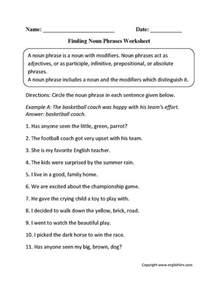 noun printable worksheets noun phrases worksheets englishlinx board worksheets