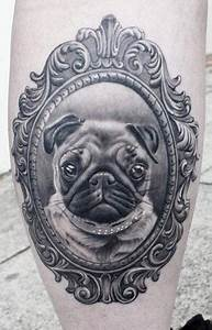 Black Pug Dog Face Tattoo On Finger