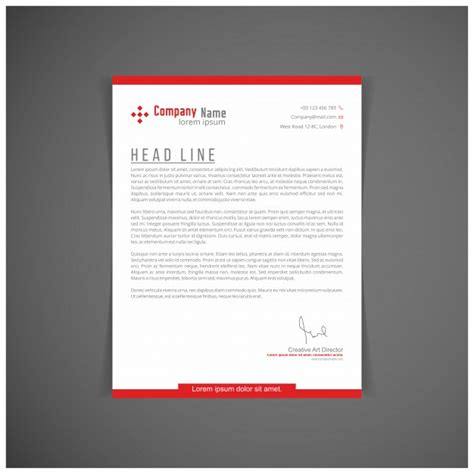 red letterhead template vector