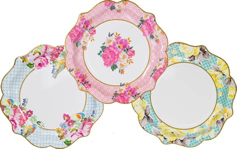 12 Luxury Vintage Style Afternoon Tea Medium Paper Plates