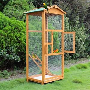 """Wooden Large Bird Cage 65"""" Pet Play Covered House Ladder"""