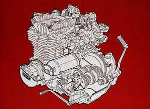 Cutaway View Of The 1973 Kawasaki Z1 900 Engine