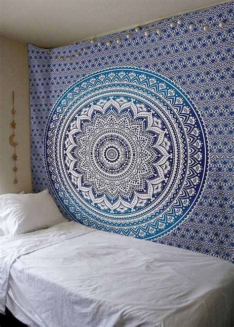blue ombre mandala tapestry wall hanging cheap mandala tapestries