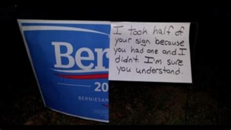 viral  defaced bernie yard sign turned   anti