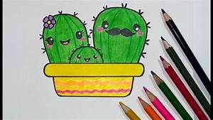 How to Draw a Cactus Family Cute, Step by Step with ...