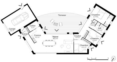 plan maison bois plain pied 4 chambres plan maison en u ouvert ooreka