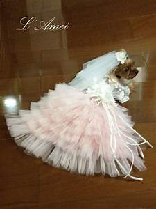 Custom made dog wedding dress made of soft pink tulle and hand for Dog wedding dresses