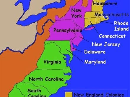 New England 13 Colonies Map