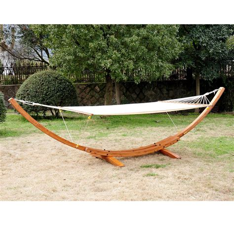 Wooden Hammock by Cypress Wooden Arc Hammock Stand With Hammock