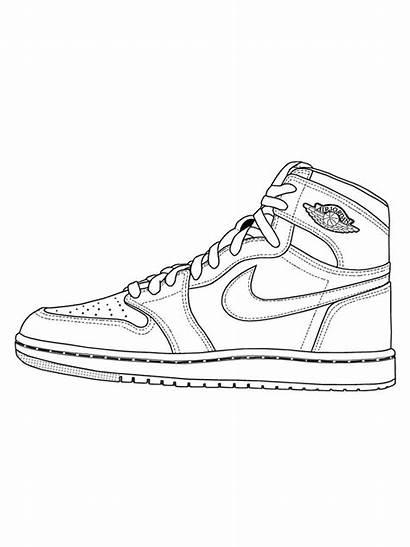 Coloring Sketsa Sepatu Gambar Drawing Drawings Nike