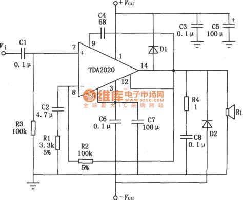 typical application circuit diagram of 20w hi fi audio power lifier tda2020 tube lifier