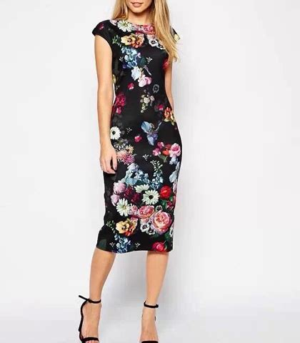 black cap sleeve satin dress midi length bright floral