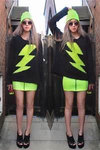 Black Neon Lightning Primark Sweaters Chartreuse Neon Zip