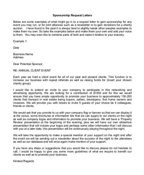 sample corporate sponsorship letter documents  word