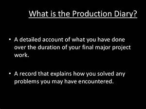 Fmp Production Diary Instructions