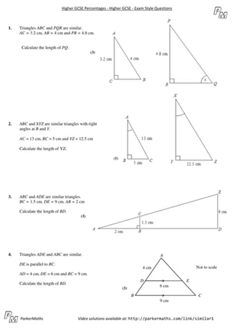 Similar Shapes  Higher Gcse  Exam Style Questions By Parkermaths  Teaching Resources Tes