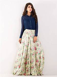 Navy blue top with long skirt