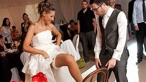 The traditional garter toss