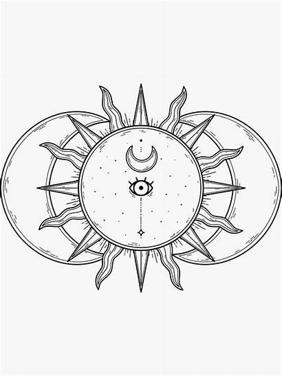Drawing Celestial Moon Sun Drawings Boho Hippie