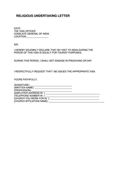 fillable religious undertaking letter  indian visa