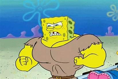 Muscles Spongebob Strong Gifs Reaction