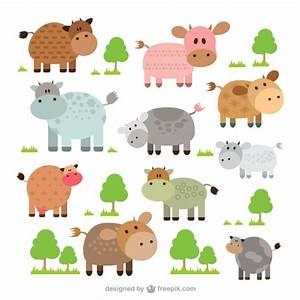 Cute cows collection Vector | Free Download
