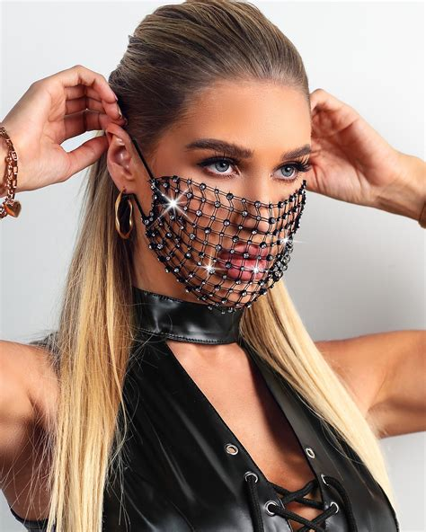 Hollow Out Breathable Bling Rhinestone Face Mask Online