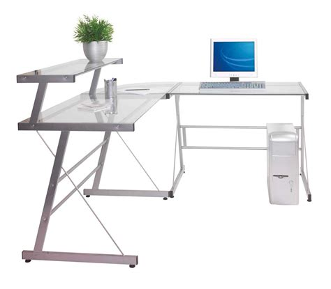 metal and glass office desk glass corner desk for home office