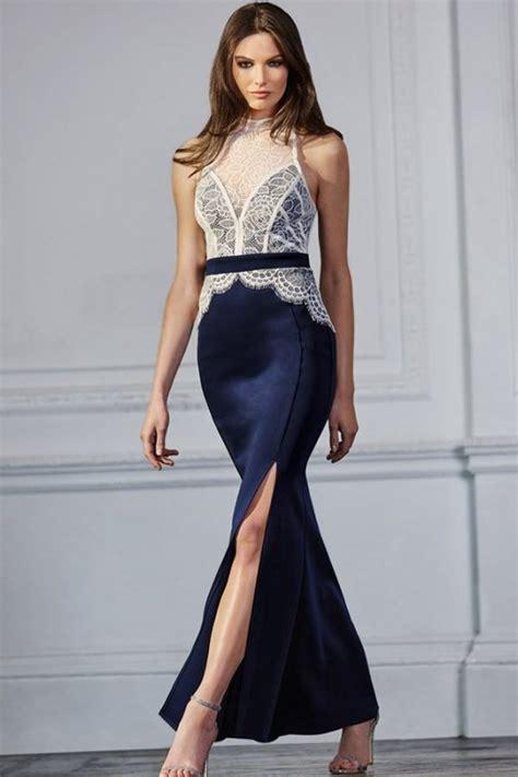 Women Party White Lace Top Slit Blue Petite Maxi Dresses ...